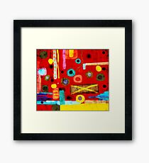 Red Abstract Art Grungy rusted old styled Framed Print