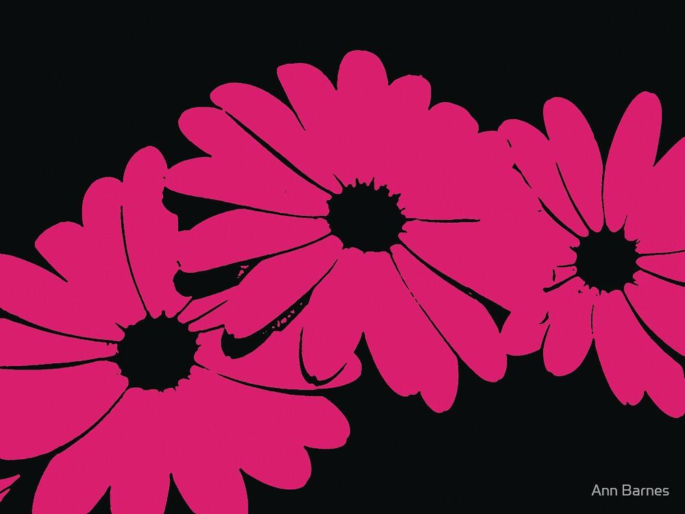 Flower Power Art - Pink Trio by Ann Barnes