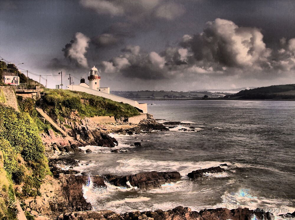Lighthouse at high tide by mikeloughlin