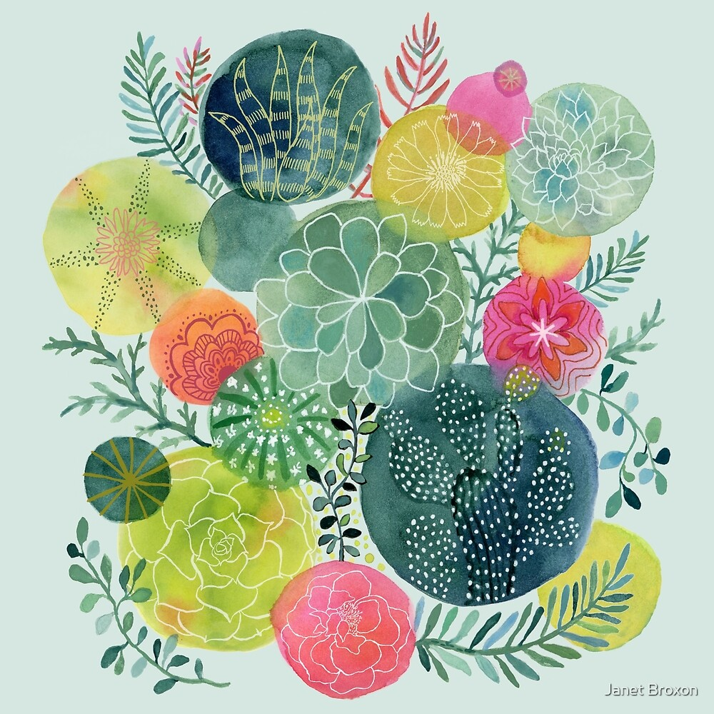 Succulent Circles by Janet Broxon