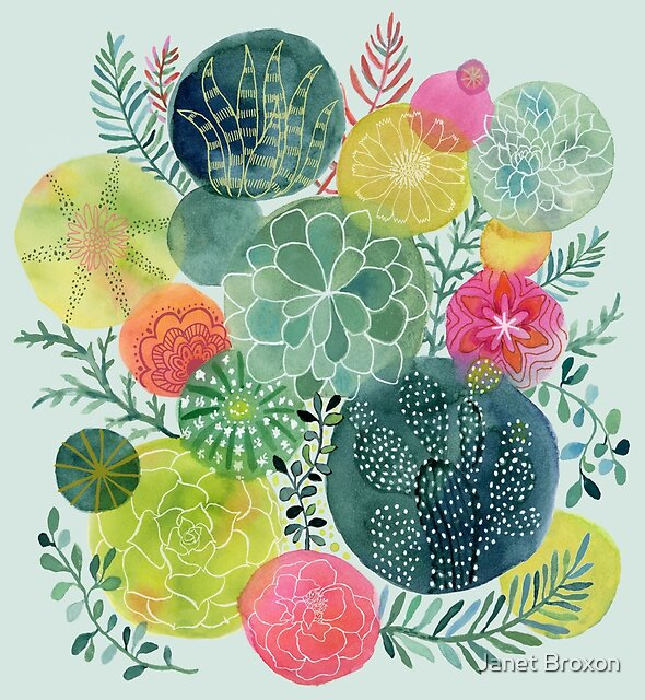 Succulent Circles by Janet Broxon