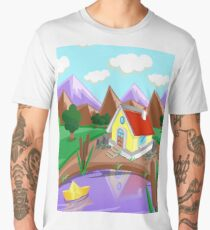 Background house in the mountains Men's Premium T-Shirt