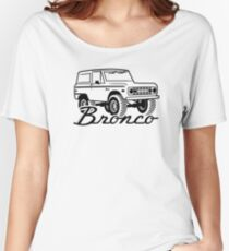 1966-1977 Ford Bronco, w/logo black print Women's Relaxed Fit T-Shirt