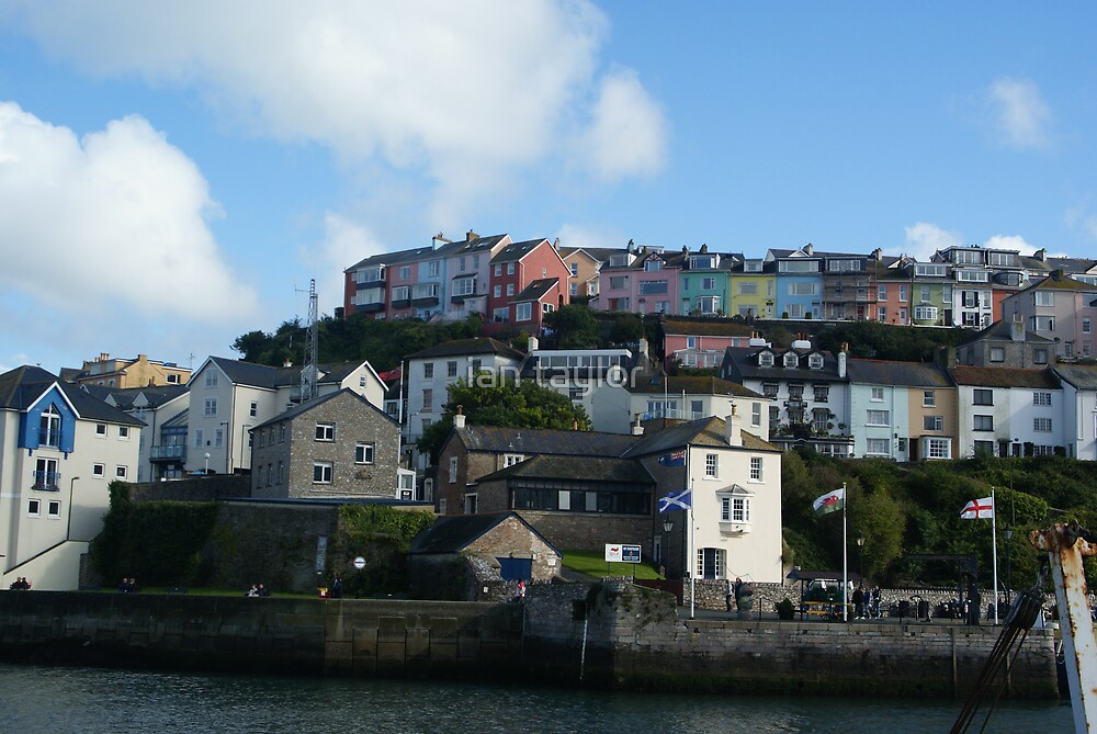 houses in brixham harbour by ian taylor
