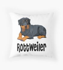 Brown & Black Rottweiler Puppy Dog Cartoon Illustration Floor Pillow