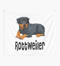 Brown & Black Rottweiler Puppy Dog Cartoon Illustration Wall Tapestry