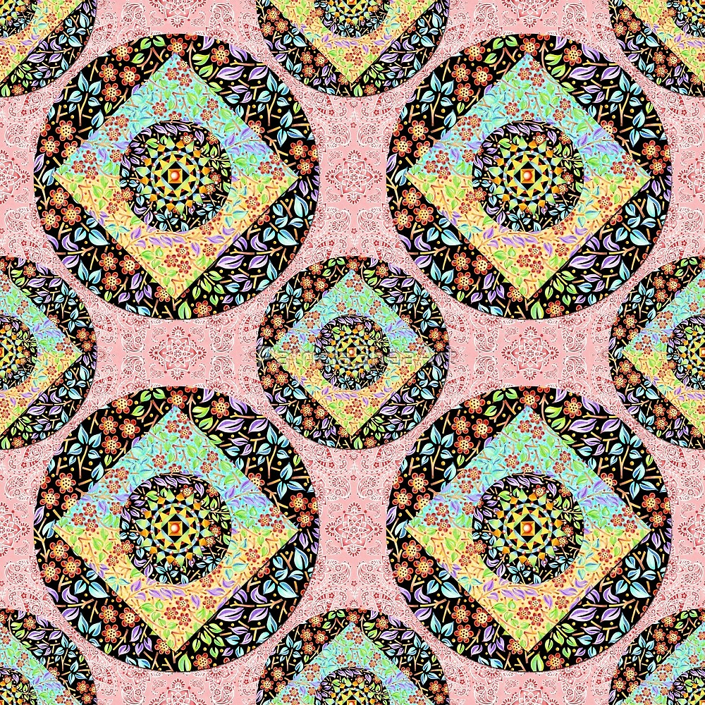 Pink Paisley Patchwork by PatriciaSheaArt