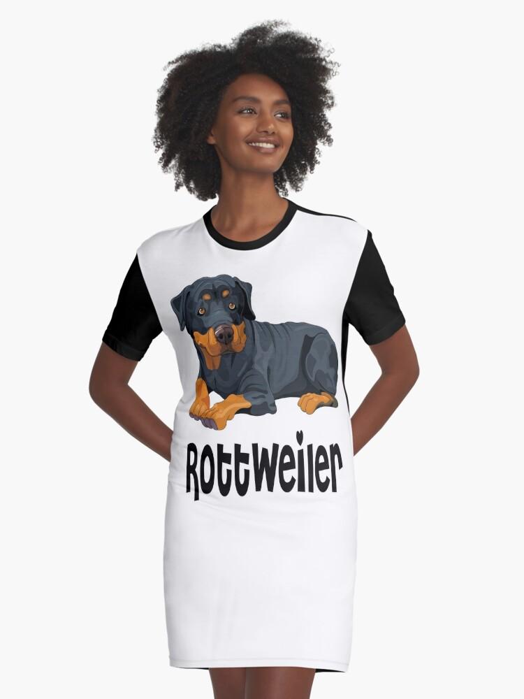 Brown & Black Rottweiler Puppy Dog Cartoon Illustration Graphic T-Shirt Dress Front