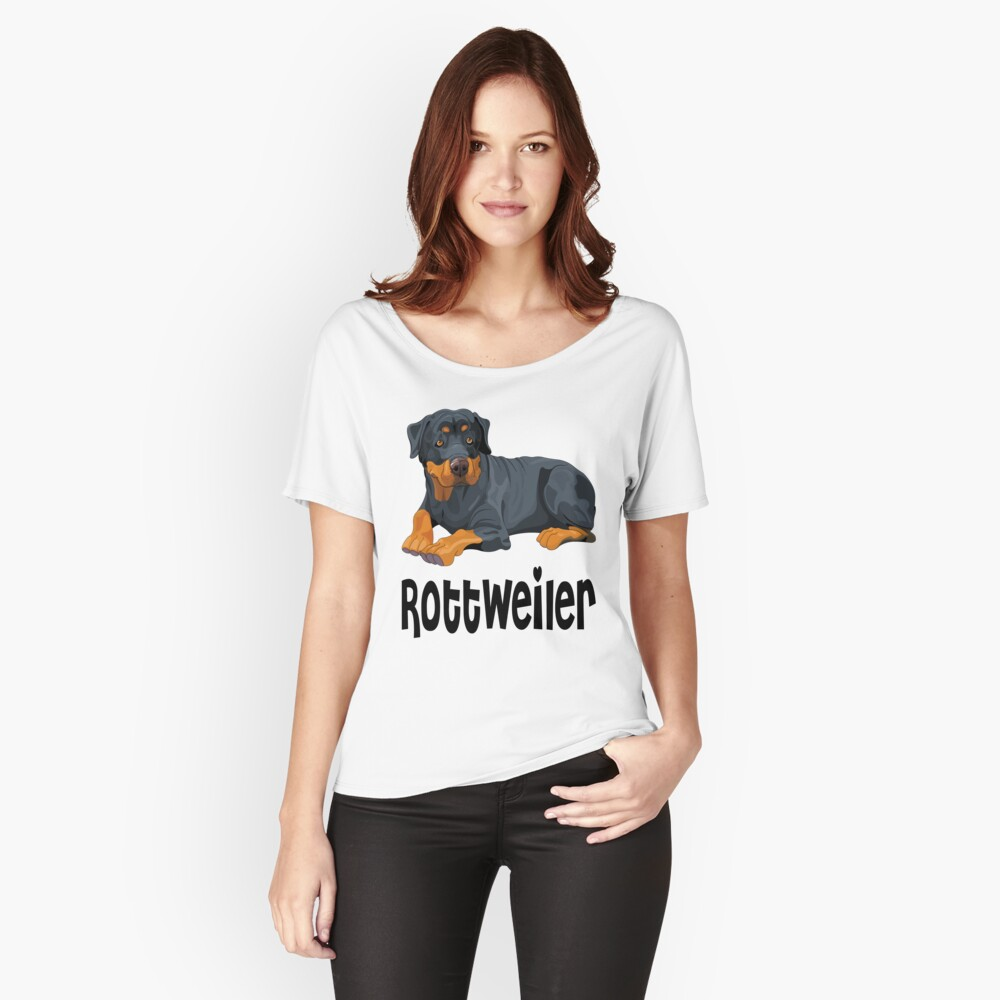 Brown & Black Rottweiler Puppy Dog Cartoon Illustration Women's Relaxed Fit T-Shirt Front