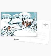 Snow, Bournemouth Gardens - Original linocut by Francesca Whetnall Postcards