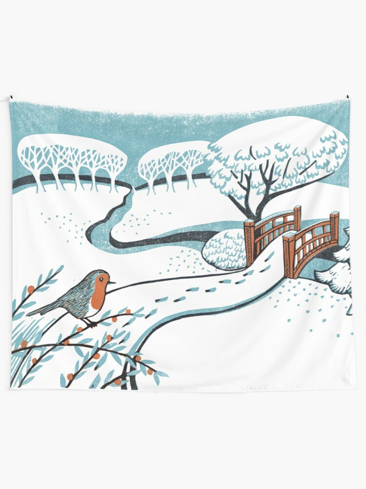 Alternate view of Snow, Bournemouth Gardens - Original linocut by Francesca Whetnall Tapestry