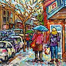 THE STROLL RAINY DAY IN THE CITY VERDUN STREET SCENE PAINTING CANADIAN ARTIST CAROLE SPANDAU MONTREAL ART by Carole  Spandau