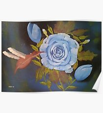 Blue Roses and Humingbird Poster