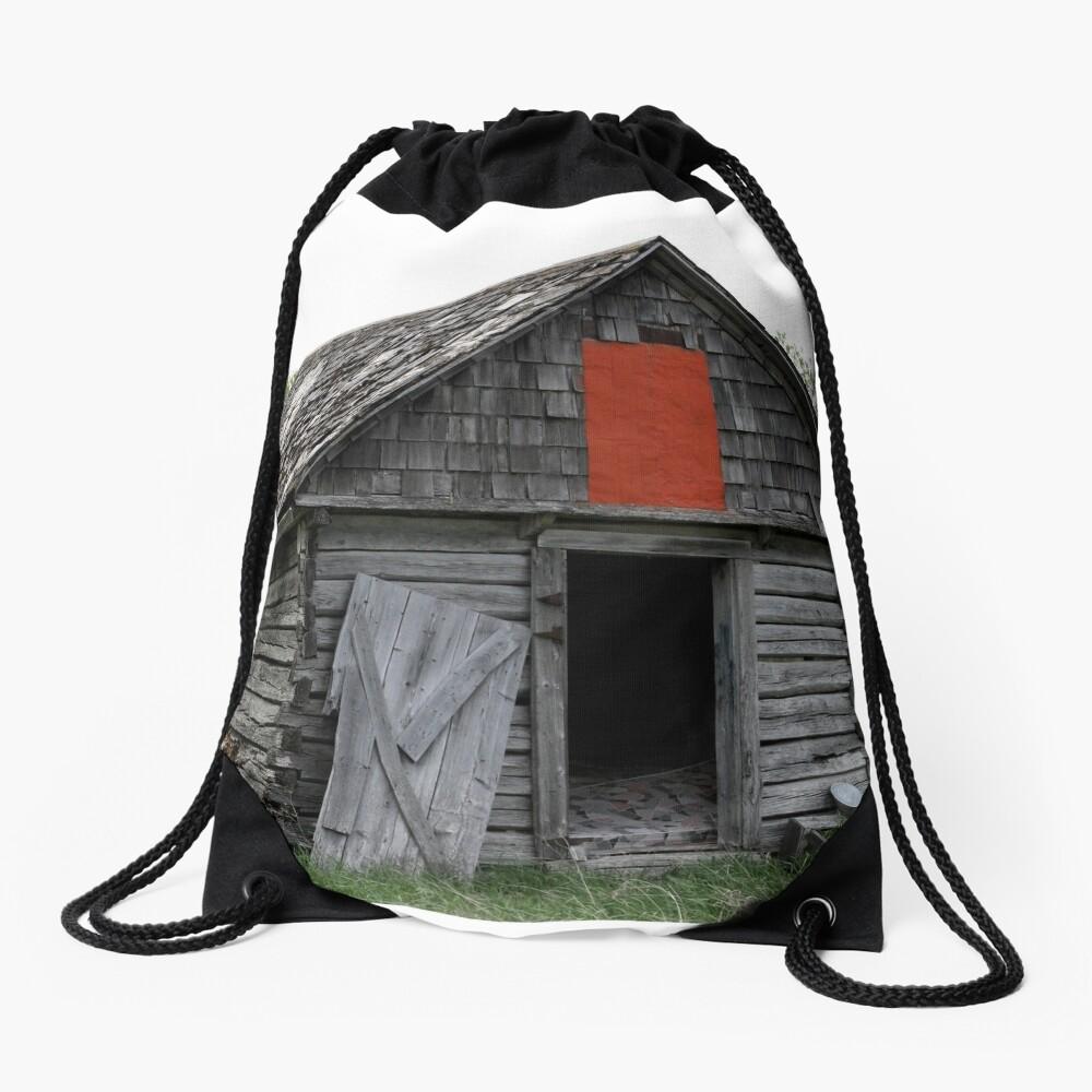 Old Log Cabin on the Prairies Drawstring Bag