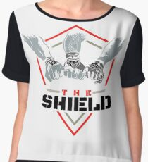 The Shield Red Logo with black letters Women's Chiffon Top