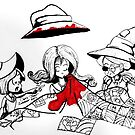 Inktober: Three witches working on a quilt   by Chris Jaser