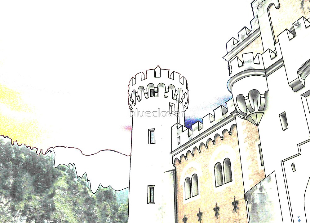 Outlined Castle in Sketch Form by blueclover
