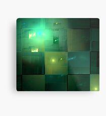 Emerald Gold Cubes Metal Print