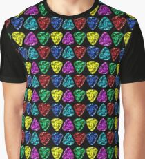 Guitar Picks in Red, Blue, Yellow, Pink and Aqua (Teal) Graphic T-Shirt