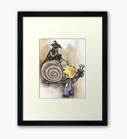 Jeffery Meets The Hermit Snail Rider Framed Print