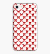 Red Christmas Bows on White iPhone Case/Skin