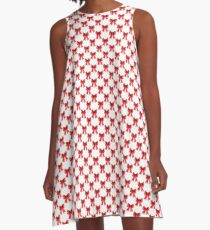 Red Christmas Bows on White A-Line Dress