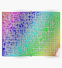Rainbow Colored Maze Poster