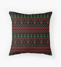 3 Knitted Christmas pattern in retro style pattern Throw Pillow