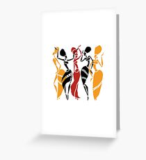 African dancers silhouette Greeting Card