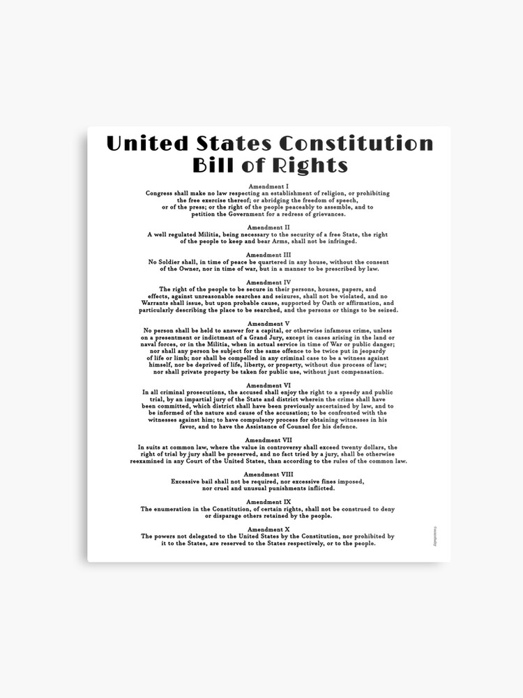 photo regarding Printable Bill of Rights named Monthly bill of Legal rights, US Consution Steel Print