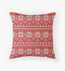 Knitted Christmas pattern in retro style pattern Throw Pillow