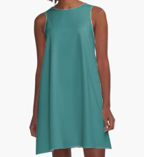 Solid Greenish Blue Simple Solid Color All Over Print A-Line Dress