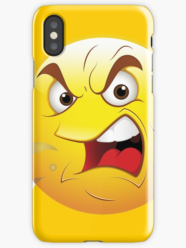 Angry Smiley Face Emoticon Iphone Cases Covers By Allovervintage