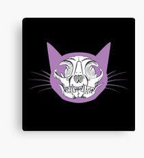 Purple Cat Skull Canvas Print