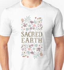 Sacred Earth Lettering with hand-drawn florals T-Shirt