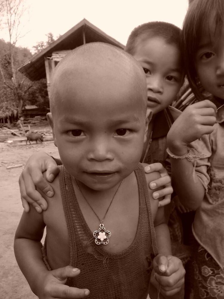 Akha village child Northern Laos  by vondan
