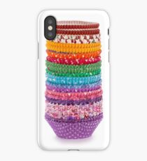 Colorful forms to make cupcakes from paper isolated over white background iPhone Case/Skin