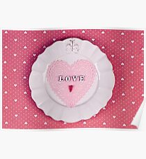 Romantic holiday table setting, on fabric heart pattern Poster