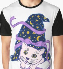 Halloween Cute Cat under Sorcerer's Witch Hat Graphic T-Shirt