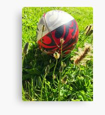 Rugby Ball On Grass Canvas Print