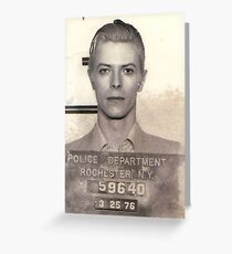 DAVID BOWIE MUGSHOT  Greeting Card
