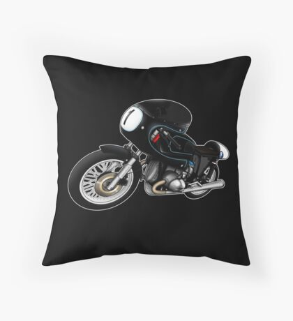 Motorcycle T-shirts Art: Black on Black Throw Pillow