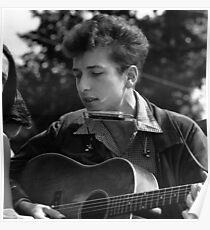 YOUNG BOB DYLAN GUITAR AND HARMONICA Poster