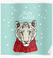 Merry Christmas New Year's card design Tiger head in a red knitted sweater and a scarf. Sketch drawing. Black contour on a blue background Poster