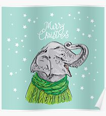 Merry Christmas New Year's card design Elephant head with a raised trunk in a knitted sweater and a green scarf. Sketch drawing. Black contour on a blue background Poster
