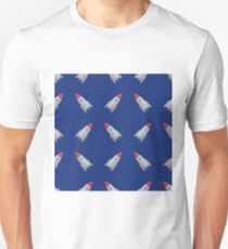 Space Rocket Flying on Blue Sky Background. Seamless Pattern T-Shirt