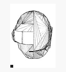 Geometric DaftPunk Helm - WHITE/BLACK Photographic Print