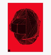 Geometric DaftPunk Helm - RED/BLACK Photographic Print