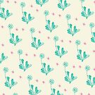 Spider Daisies (mint + cream) by wallpaperfiles