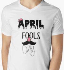 glasses nose beard happy april fools day mens v neck